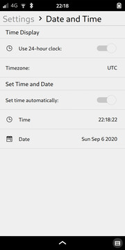 Settings: Date and Time
